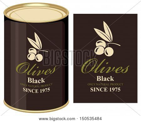 Vector illustration of a tin can with label of black olives