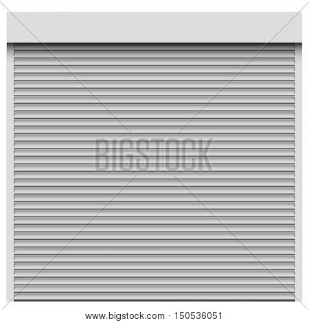 White roller shutter vector template.  Closed entrance with roller blind.