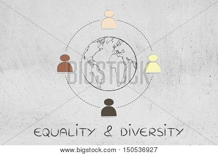 Diversity In The Workplace: Multi Ethnic Team Illustration (earth Version)