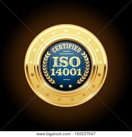 ISO 14001 certified medal - quality standard golden insignia, vector