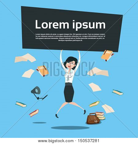 Happy Business Woman Excited Jump Hold Banner With Copy Space, Businesswoman Winner Success Flat Vector Illustration