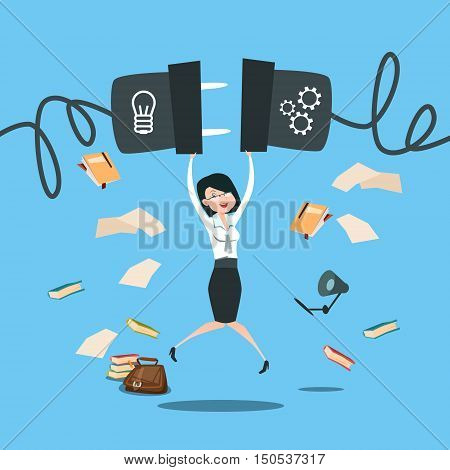 Happy Business Woman Excited Jump Space, Businesswoman Success Idea Startup Concept Flat Vector Illustration