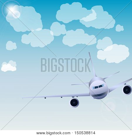 Flight of the plane in the sky. Passenger planes, airplane, aircraft, flight, clouds, sky. vector illustration
