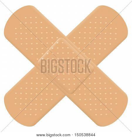 Adhesive bandage cross symbol - crisscrossed plasters.