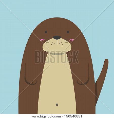 cute big fat otter on light blue background
