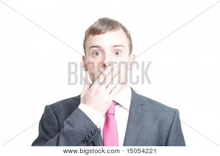 A silenced business man isolated on white