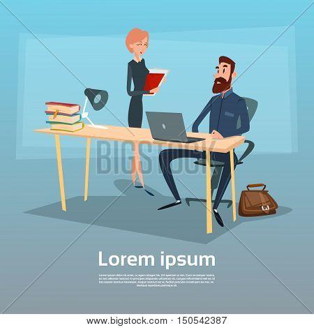 Businessman Sitting Office Desk Businesswoman Give Paper Secretary Apply Job Interview Candidate Flat Vector Illlustration