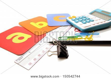 Colorful Stationary For Children Student Concept