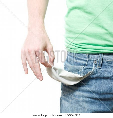 A man with empty pockets