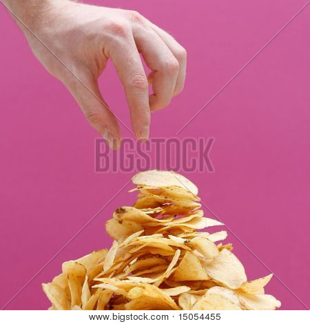 Eating potato chips