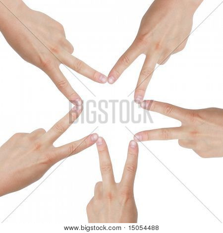 Hands creating a star