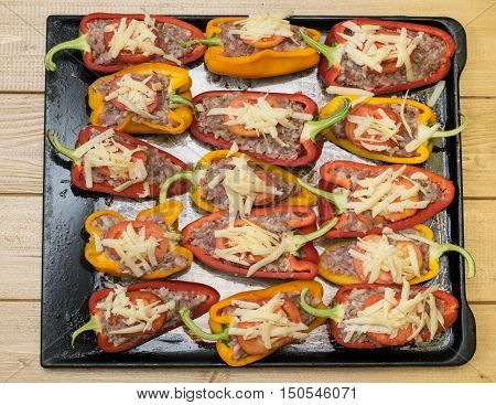 Bulgarian Peppers Stuffed With Meat, Buckwheat And Rice And Tomatoes.