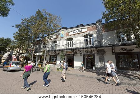 ZAKOPANE POLAND - SEPTEMBER 12 2016: Commercial House and Art Gallery that is named Bazar Polski was erected in the downtown in year 1911 and is located by the Krupowki street