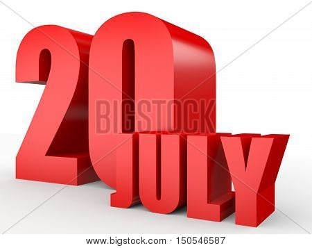 July 20. Text On White Background.