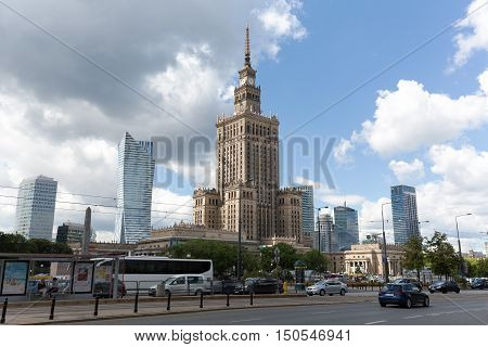 WARSAW POLAND - JUNE 11 2016: The downtown with its Palace of Culture and Science that is the tallest building in Poland with an overall height of 237 meters