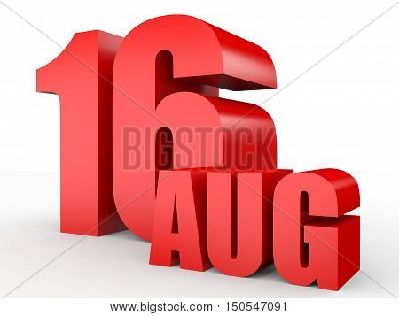 August 16. Text On White Background.