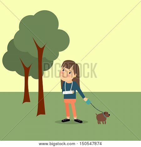 Girl with broken arm with dog in the park. Vector illustration