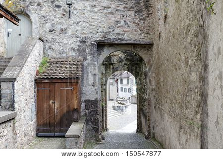 RAPPERSWIL SWITZERLAND - MAY 10 2016: Gate which is way out from the castle courtyard in the direction of city. This gate is part of the walls of the thirteenth-century castle.