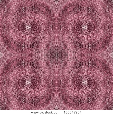 Abstract geometric seamless baroque background. Regular spiral ornaments in pink, red violet and brown shades, single color.