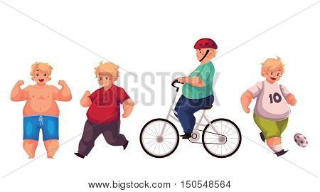 Fat boy doing sport exercises, cycling, running, playing football, cartoon vector illustration isolated on white background. Obese, fat, chubby kid doing sport, getting fit, active lifestyle