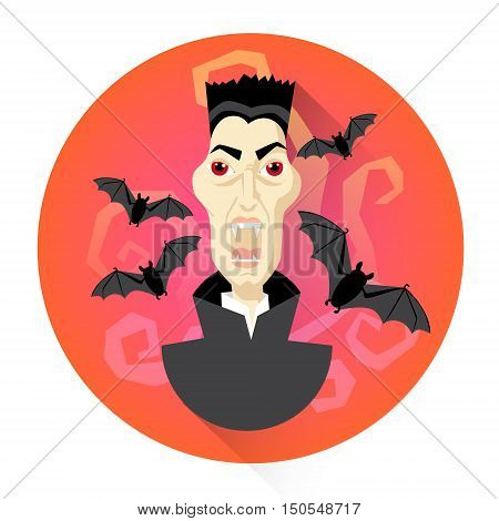 Dracula Vampire With Bats Halloween Holiday Icon Flat Vector Illustration