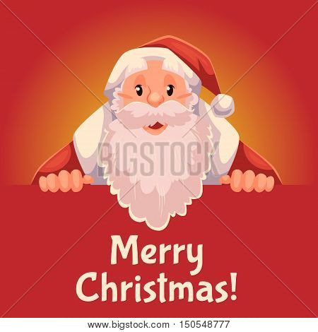 Cartoon style Santa Claus holding a sign with both hands, Christmas vector greeting card, red background. Half length portrait of Santa holding a sign, greeting card template for Christmas eve