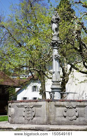 LUCERNE SWITZERLAND - MAY 06 2016: Mary's fountain probably dates back from the late 17th century and is located by the Church of St. Leodegar