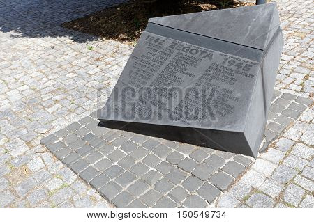 WARSAW POLAND - AUGUST 05 2016: Monument commemorates the activity and struggle of the Council for Aid to Jews during the Second World War is located next to Museum of the History of Polish Jews