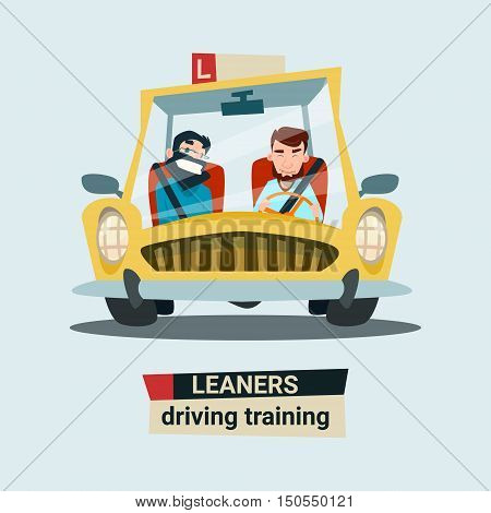 Driving Training Courses Practice Instructor With Student In Car Flat Vector Illustration