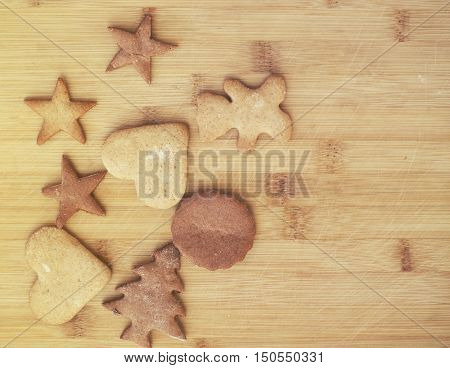 Christmas Gingerbread Cookies - Sweet Food On Wooden Background