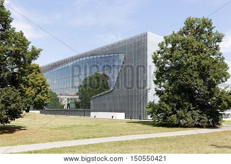 WARSAW POLAND - AUGUST 05 2016: Museum of the History of Polish Jews that documents the millennial tradition of Jews in Poland and was built in years 2009-2013