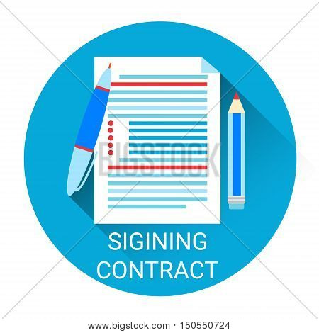 Signing Contract Icon Business Agreement Concept Flat Vector Illustration