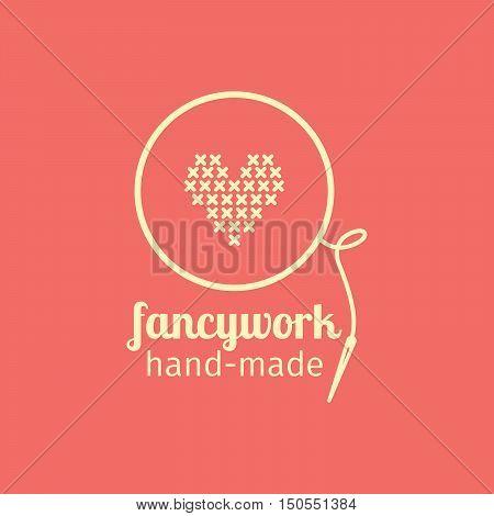 Fancywork handmade thin line icon. Colorful logo vector design