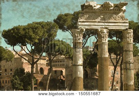 Vintage image of ancient columns in the Roman Forum of Rome Italy