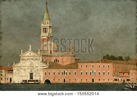 Vintage image of the St. George island and church in Venice Italy