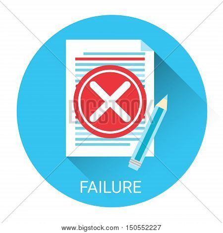 Failure Concept Business Problem Icon Flat Vector Illustration