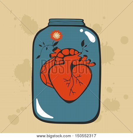 Concept love card with heart in jar. Perfect for Birthday cards, wedding or Valentines day invitations