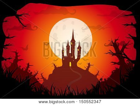 Halloween red old movie style poster castle at night with full moon and dead strange forest on hills. Vector background