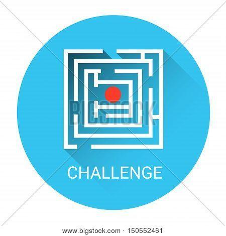 Labyrinth Business Challenge Icon Flat Vector Illustration