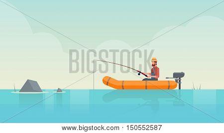 Man Fishing In Boat On Pond Flat Vector Illustration
