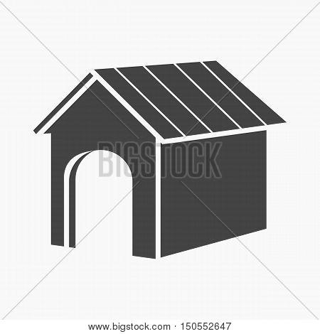Doghouse rastr illustration icon in black design