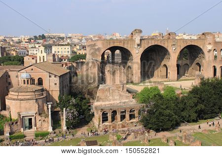 House of the Vestals and the Basilica of Maxentius in the Roman Forum. Rome, Italy
