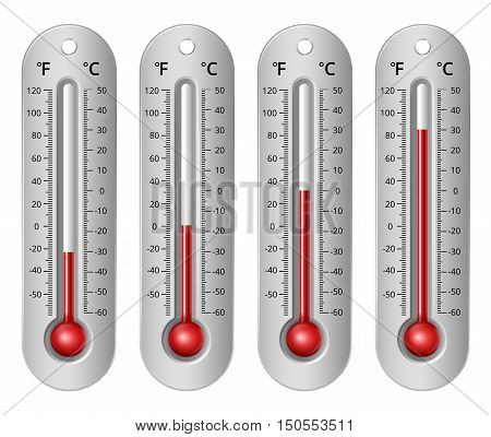 Thermometers with different levels fahrenheit and celsius scale. Vector Illustration