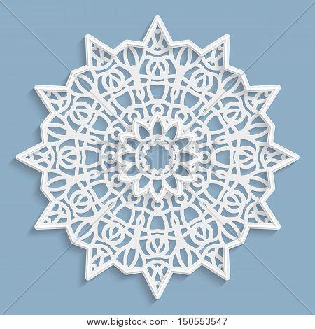 Lace 3D mandala round symmetrical openwork pattern lacy doily decorative snowflake arabic ornament indian ornament embossed pattern decorative design element vector