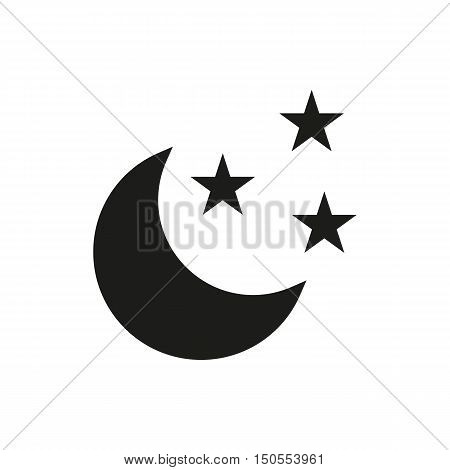 Crescent or a new moon and stars. Symbol of night and time for sleep. Astronomy and astrology. Sign for meteorology. Simple black line vector icon