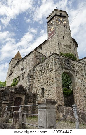 RAPPERSWIL SWITZERLAND - MAY 10 2016: The Castle that was built in the early 13th century. The castle became the seat of the Polish National Museum since 1870