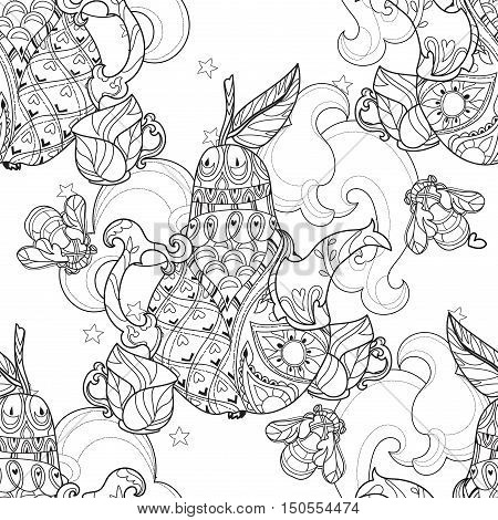Honey tea pot pear doodle with bees .Hand drawn vector illustration. Sketch for tattoo adult relax coloring anti stress book. Zen art collection boho style seamless pattern.