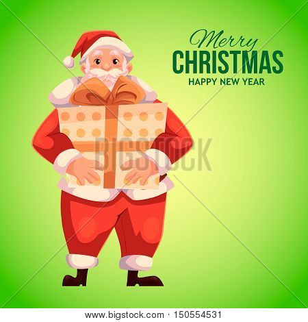 Cartoon style Santa Claus holding big gift box, Christmas vector greeting card. Full length portrait of Santa holding large present box on green background, greeting card template for Christmas eve