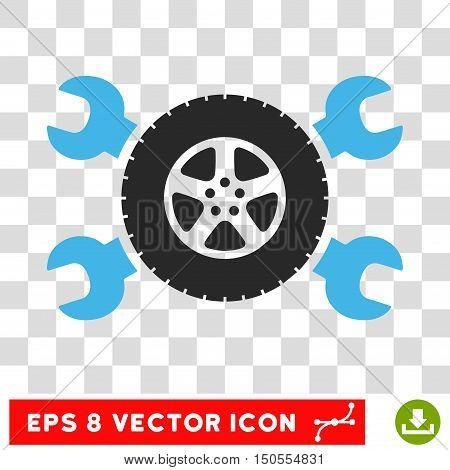 Vector Tire Service EPS vector icon. Illustration style is flat iconic bicolor blue and gray symbol on a transparent background.