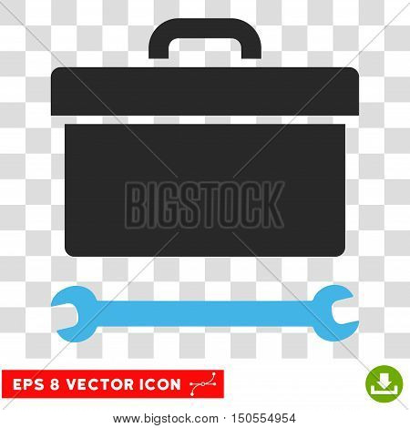 Vector Toolbox EPS vector pictogram. Illustration style is flat iconic bicolor blue and gray symbol on a transparent background.